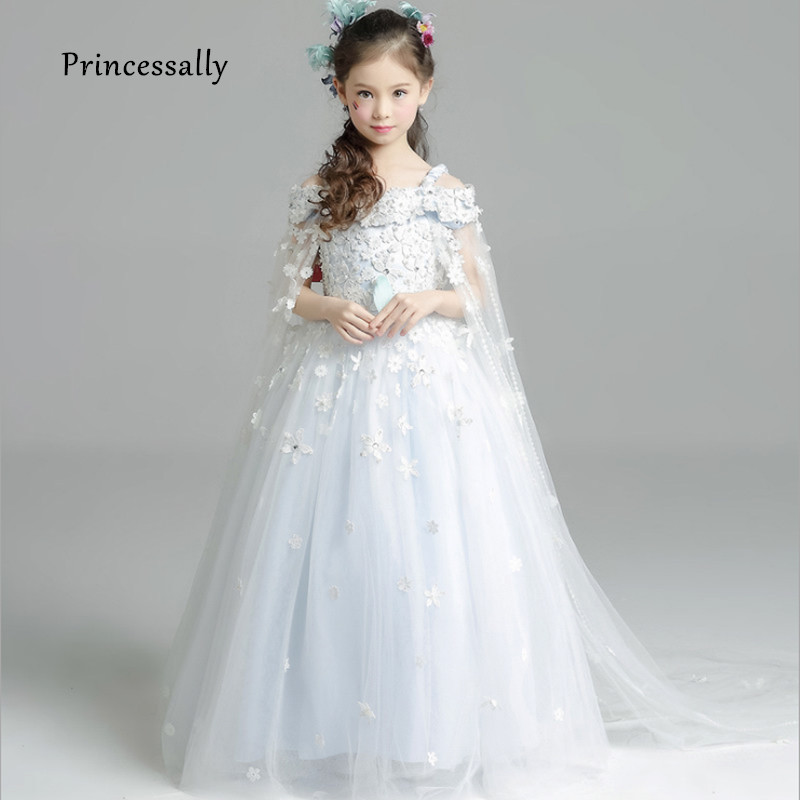 New Luxury Light Blue Flower Girl Dress With Jacket Beading Appliques weddings Baby Party Frocks Children Dress kid Evening Gown