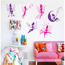 6pcs/set Pink Purple Butterfly Fairy Wall Sticker Elf Picture Home Decor for Kids Girl Room Dragonfly Angel DIY Mural Princess(China)