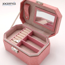 Jewelry Box Organizer PU Leather Double Layers with Mirror jewelry Dispplay Holder E1IT Drop Shipping