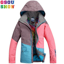 GSOU SNOW Brand Ski Jacket Women Winter Snowboard Jacket Waterproof 10K Breathable 10K Female Skiing Snowboarding Sport Clothing(China)