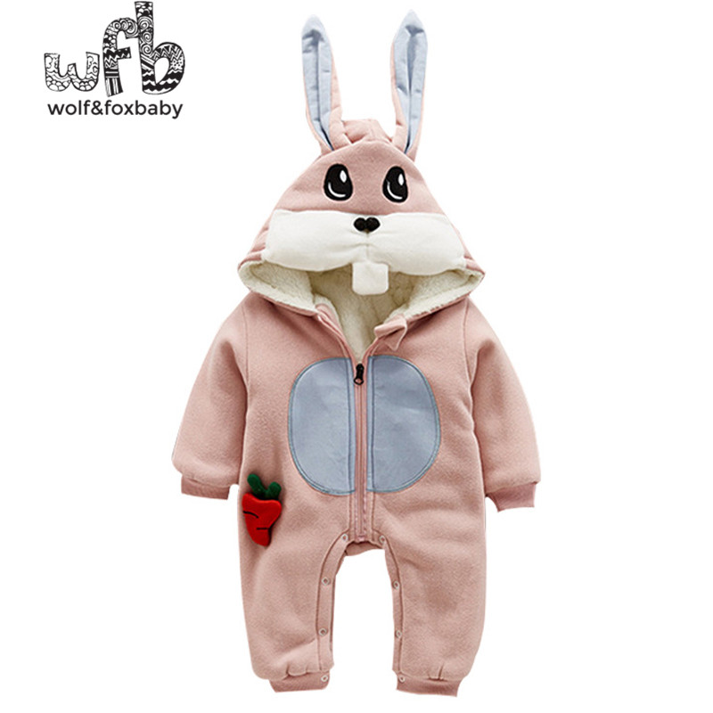 Retail 0-24 months long-sleeved hooded cartoon long-eared rabbit plus velvet piece-suit pajamas newborn climb clothes winter<br>
