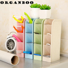 ORGANBOO 1PC Wheat Straw Desktop Storage Box Drawer Organizer Creative Finishing Box Office Desk Cosmetic Storage Box