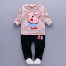 Kids clothing set boys girls suits long-sleeved top t shirt and long pants o neck breathable cotton lovely pig cartoon pattern
