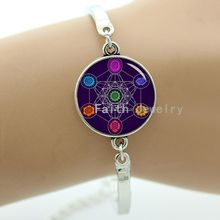 Metatron cube bracelet chakras cosmic energy centres mysterious purple background colorful cube pattern charm women jewelry 1245