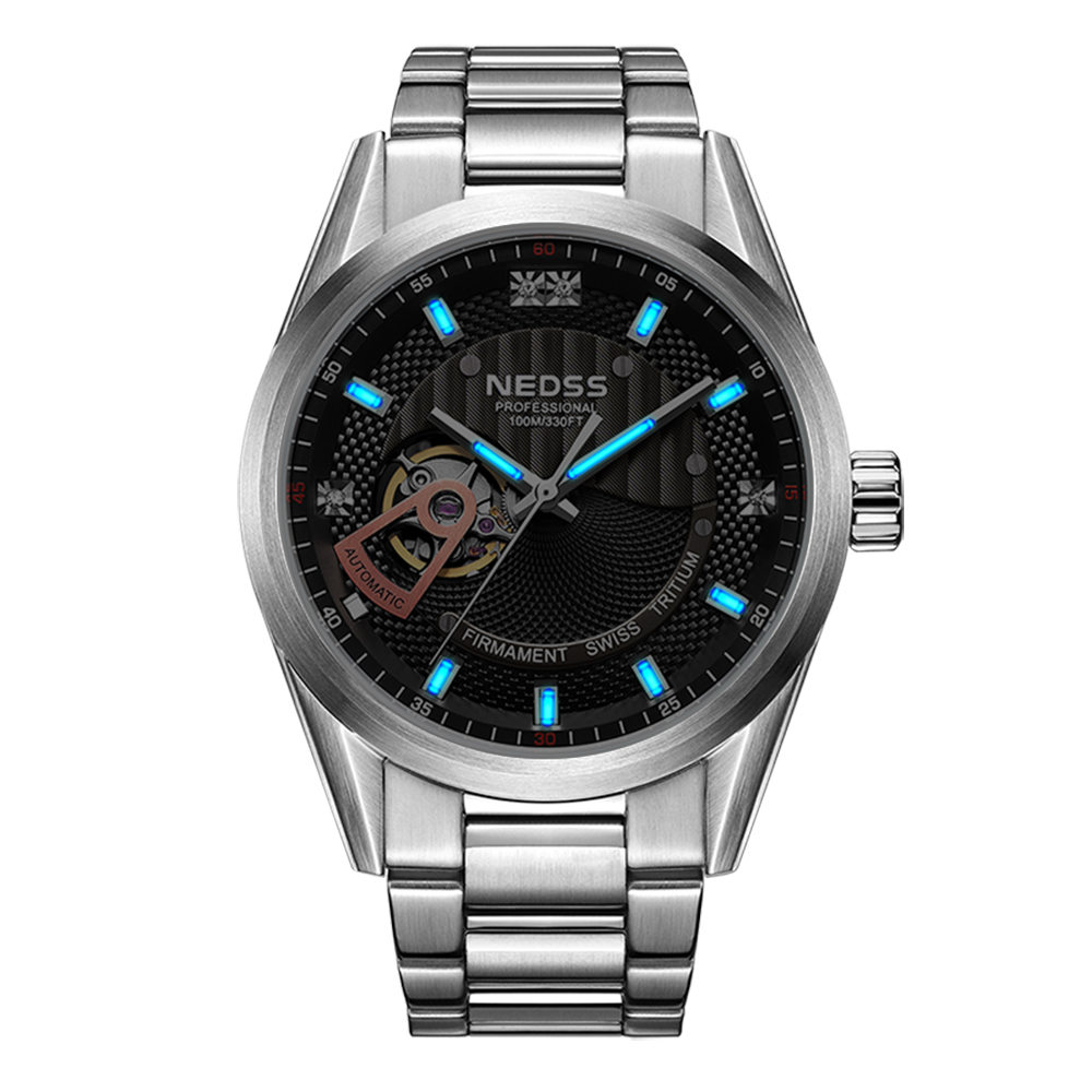 NEDSS Brand Swiss tritium Skeleton watch Automatic WristWatch sapphire fashion Military Clock 100m waterproof Relogio Masculino