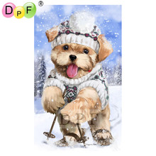 "DPF diamond mocaic ""Ski dog"" 5D DIY Diamond Painting full square Diamond Embroidery Cross Stitch home decor wall painting(China)"