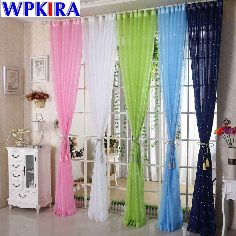 White Window Curtain Panel Polyester Silver Star Cortina Living Room Kitchen Door Curtain Sheer Window Tulle Fabric WP234-30