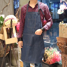 2017 Aprons for Woman Men With Pockets Denim Cotton Cafe Cowboy Uniform Unisex Kitchen Restaurant Chef Waiter Cooking WQ015(China)
