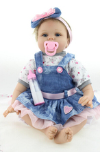 "Buy 22"" Baby-reborn girl doll handmade doll soft silicone vinyl fashion Denim skirt lifelike boneca reborn baby toys kids"