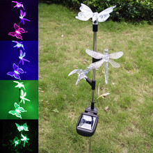 1pc/ 2pcs Solar Powered Butterfly Dragonfly Hummingbird Garden LED Lawn Lamp Party Christmas Garden Wall Yard Decoration--M25(China)