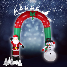 2017 Newst 2.4 m Christmas inflatable Santa Claus Snowflake Arches Door Christmas Props Stage Party Arches Welcome Arches