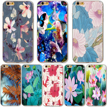Cell Phone Cases For Apple iphone 6 6S 7 Samsung Galaxy A3 A5 J5 2016 J2 Prime Silicone Back Cover Fashion Lotus printing Fundas
