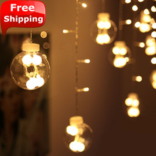 Christmas Wedding festive Glass ball pendant Led curtain light  flash lights string  room decoration fairy lights