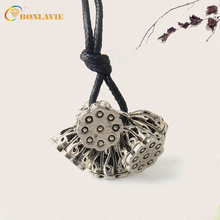 Fashion Alloy Vintage Ethnic Style Necklace Lotus roots Pendant Women Sweater Choker Necklaces