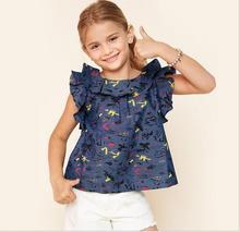 Big Baby Girls Print Floral Shirts Teenager Fashion Flutter Sleeve Blouse Junior Summer Casual Tops 2017 childrens clothing