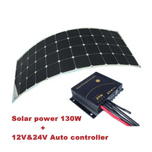 from china solar system with sunpower flexible solar panel 130W and 12V&24V Aoto solar controller, rechargeable solar panel.