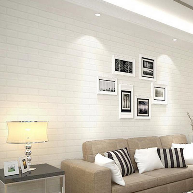 10x0.53m Bright 3D Pure Textured White Brick Stone Contact Paper Wallpaper Roll<br>
