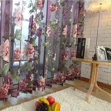 New classical classic flower curtain window screening customize finished fabric products purple tulle curtains for livingroom
