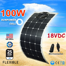 Newly 100W flexible Solar Panel Sunpower Monocrystalline solar cell Module 12V solar Home system ,Caravan,Boat,Camping(China)