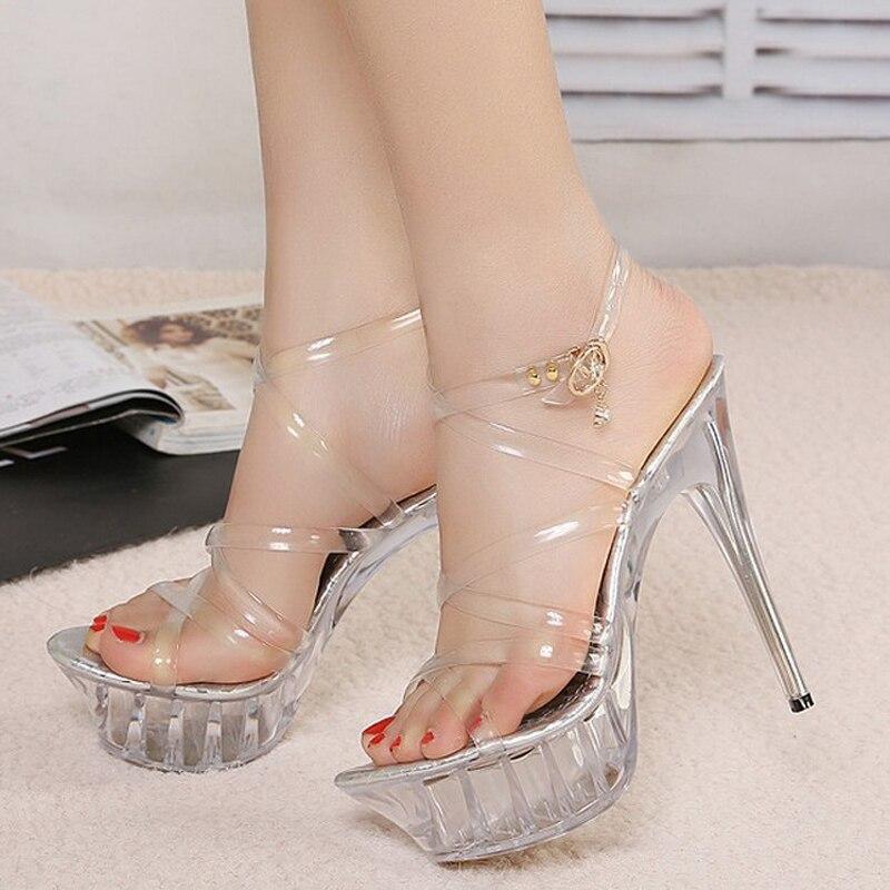 Women High Heel Sandals Jelly Crystal Clear Women Shoes Waterproof Platform Sandalia Feminina Wedding Pumps Large Size 35-43 <br><br>Aliexpress