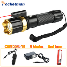 Red Laser+CREE T6 Tactical LED Flashlight, 3800LM 3 Modes Zoomable Hunting Light,Torch for Gun,for 18650/AAA battery z80(China)