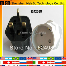 With fused 13A 250V ABS Germany socket to UK power adaptor plug INDUSTRY eu power cord cable plug Converter(China)