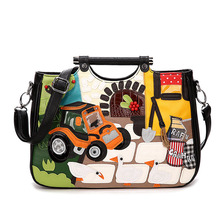 ERSUODAN The new European women's leisure bag retro cartoon driver provided Satchel(China)