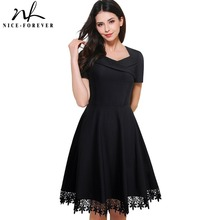 Nice-forever Vintage Elegant Stylish Embroidery Lace Sweat-Heart-Neck Ball Gown Women Short Sleeve Little Black Swing Dress A032(China)