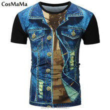 High Quality 2017 New Arrival CosMaMa brand clothing mens summer 3D denim o-neck fashion cool t-shirt USA England
