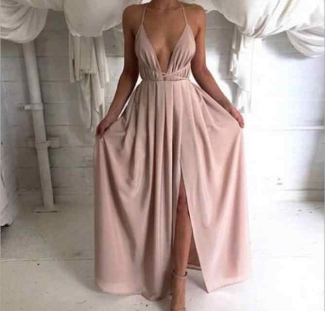 68e53679fe 2019 Elegant Sexy Long Dress Deep V-Neck Backless Straps Side Slit Bandage Dress  Satin