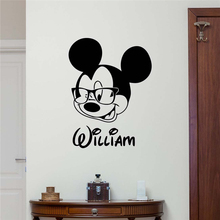 Personalized Name Mickey Mouse Wall Sticker Custom Name Baby Girl Boy Kids Room Wall Art Design Bedroom Nursery Poster M686