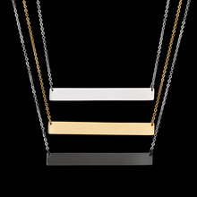 New Personalized Blank Bar Pendant Necklace 3 Colors Stainless Steel Custom Name Plate Necklace Can Engrave Word Letters Jewelry(China)