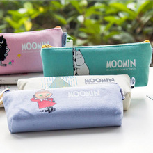J26 Kawaii Cute Moomin Canvas Pen Bag Pencil Holder Storage Case School Supply Birthday Gift Cosmetic Makeup Travel