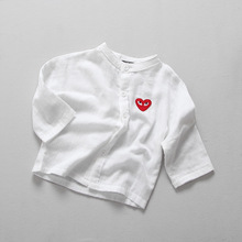Fall Japanese style children's baby boy love Paul cotton small collar solid white shirt alien pattern top 1-6t baby pullover top