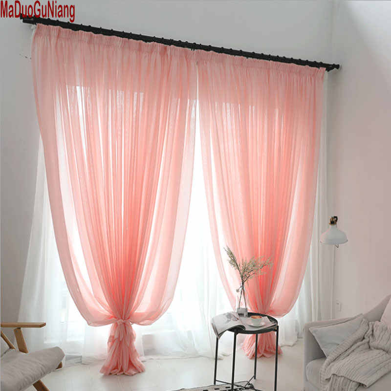 Wedding ceiling drapes Pink/Beige Sheer curtains Window decoration Voile curtain 1panel Polyester kitchen tulle curtains
