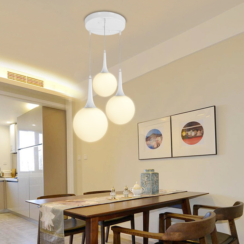 FREE SHIPPING EMS 3 HEAD Modern brief white glass ball pendant light restaurant lamp living room lights stair Pendant lamp  ZCL<br>