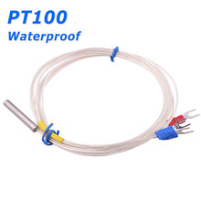 Waterproof Probe Type PT100 Resistance Temperature Detector RTD Thermal Sensor 3 Wires Cable for Temperature Controller Input(China)