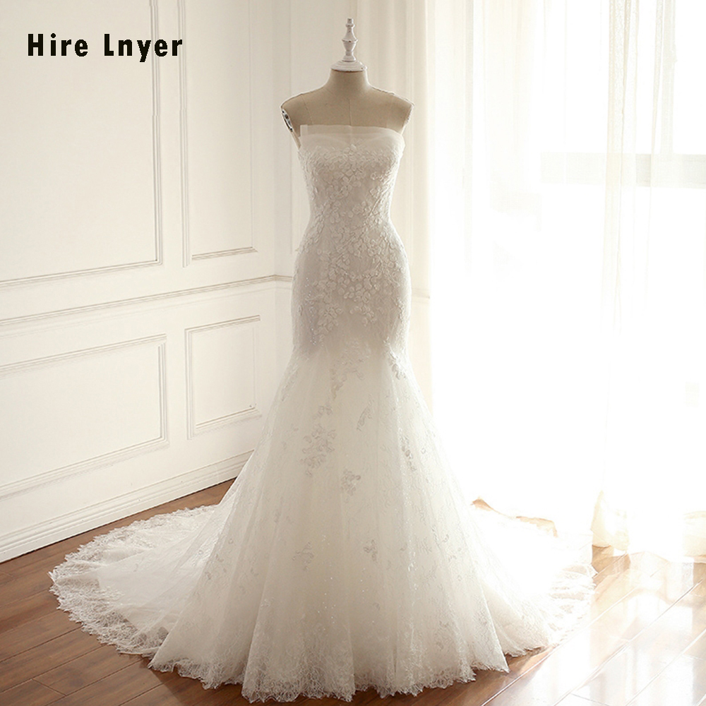 HIRE LNYER 2019 New Arrive Strapless Appliques Lace Mermaid Wedding Dresses Elegant Vestido De Noiva Sereia China Shop Online