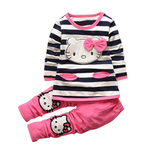 Baby Girls Hello Kitty Cotton Clothes Set,Children New Cartoon Fashion Long Sleeve Stripe Clothes Suit,Baby Girls Clothing