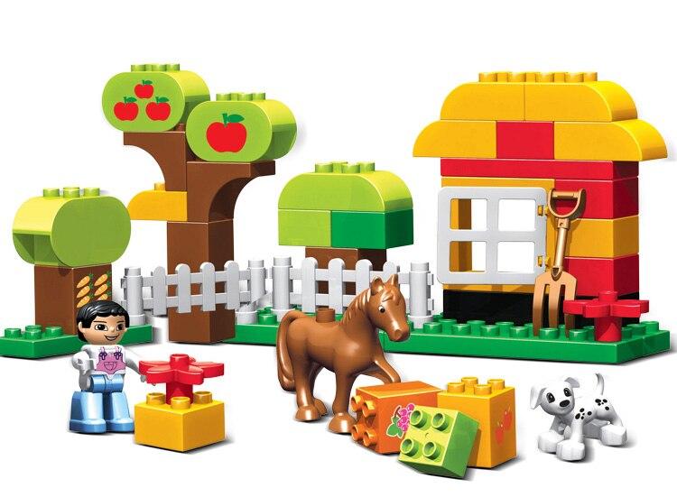 45pcs Happy Farm Animals Building Blocks Sets Large particles Animal Model Bricks Compatible Legoelieds Duploe Baseplate<br><br>Aliexpress