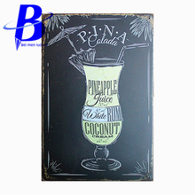 Tattoo Led Sign PINEAPPLE WHITE RUM COCONUT  Vintage Metal Tin Signs Retro Tin Plate Sign Wall Decoration for Bar Neon Beer Sign