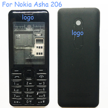 N206 Full Housing Cover Case  For NOKIA Asha 206 N206 Housing Battery Cover With English Keypads Repair Part+Logo+ Free Shipping