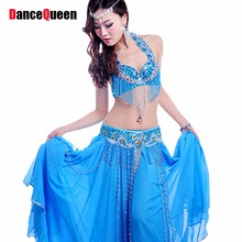 2017 New Women Bollywood Dance Costumes 3PCS Bra&Belt&Skirt Embroidery Indian Dance Costumes Performent/Stage Belly Dancer Wear