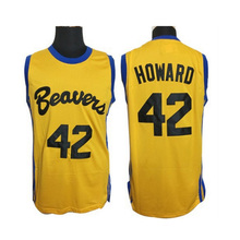 Iverson Man Basketball Jerseys #42 Scott Howard Wolf Movie Basketball Shirt Beavers Yellow Sport Jerseys Cheap Teen Basketball(China)