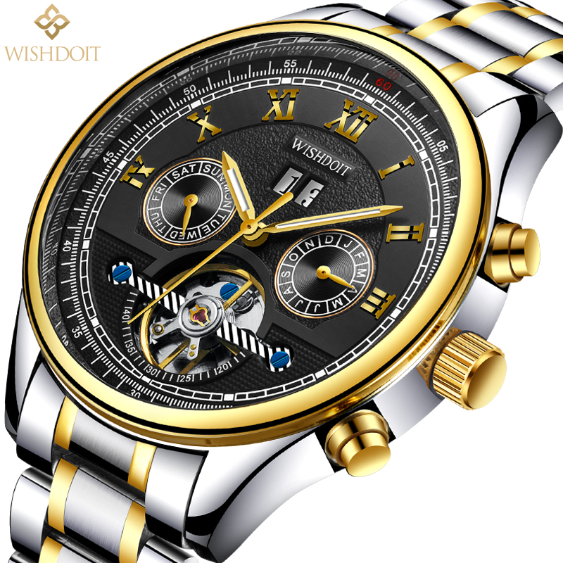 WISHDOIT New mens watches top brand luxury Fashion casual sports men business automatic mechanical watchs Mens watch Male clock<br>