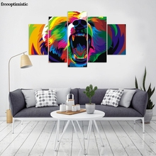 5 Panels HD Printed colorful grizzly bear Painting Canvas Print Room decor print poster Picture Canvas Wall art P0847