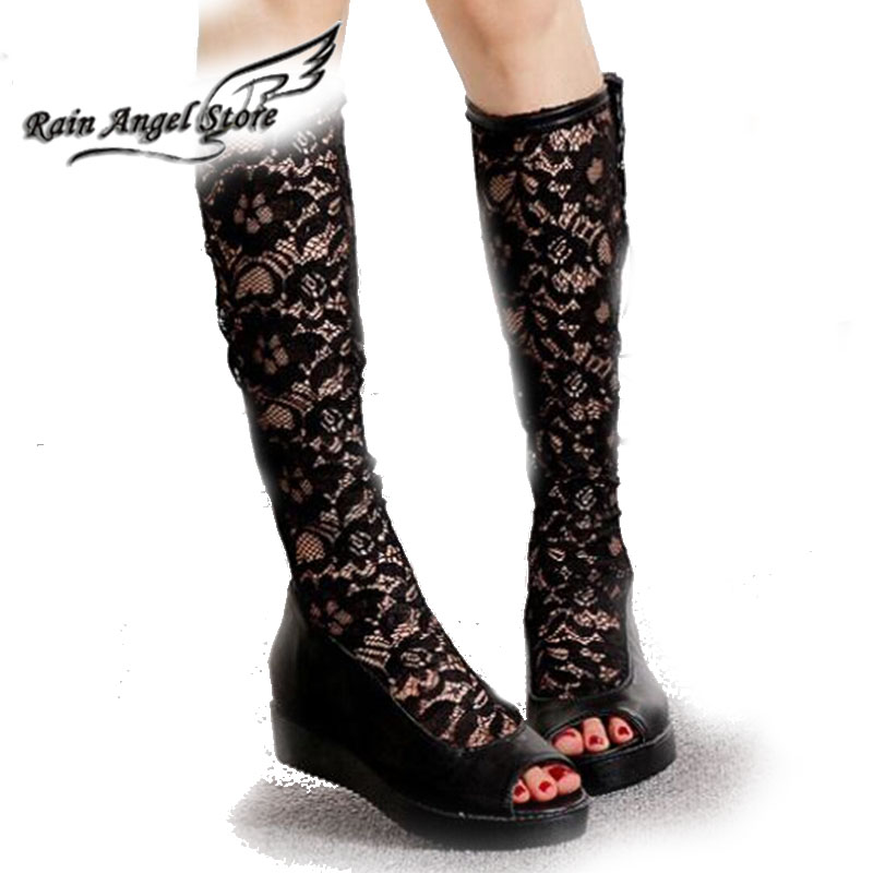 Fashion Women Wedges Mesh Lace Hollow Flower Tall Boots Thigh High Boots Increased Summer Knight Boots Botas Femininas 2014<br><br>Aliexpress