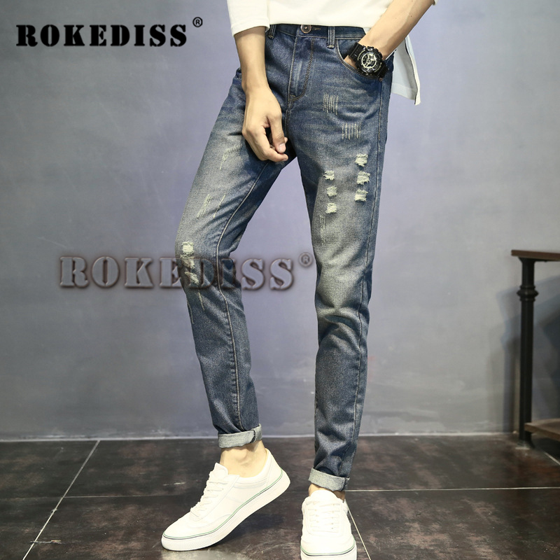 2017 autumn The New hombre vaqueros Slim pantalones Feet mens skinny casual biker homme patch Jeans uomo brand-clothing C22Одежда и ак�е��уары<br><br><br>Aliexpress