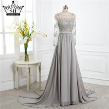 Grey Beading Crystal Formal Long Sleeve back cover elegant evening dresses long Prom Custom Size  Party Dress 2017 Evening Dress