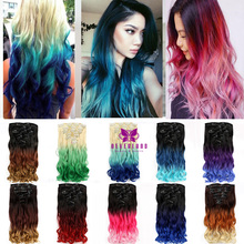 "New Fashion 20"" 50-55cm 16Clips 7pcs/set Wavy Curly Clip In Hair Extensions Ombre Rainbow Color Women Synthetic Hairpieces B50"